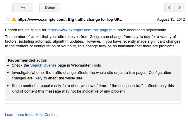 Google Webmaster Traffic Alert