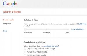 google search settings small