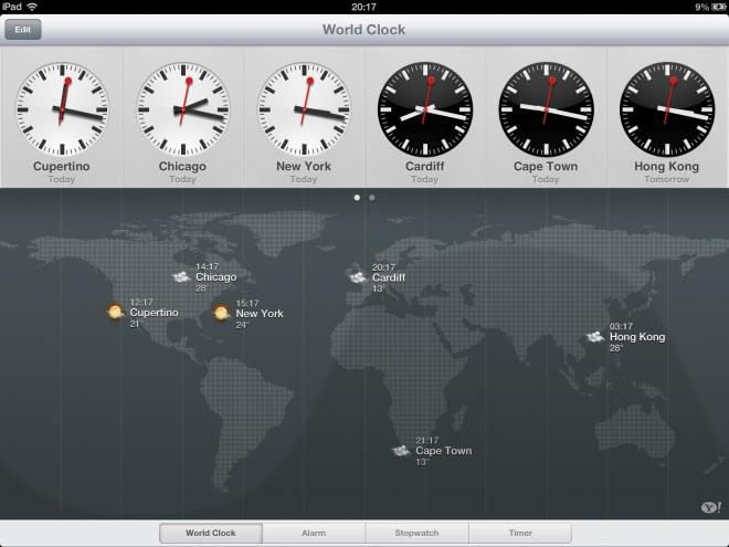 iOS 6 iPad world clock
