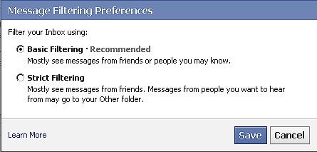Facebook message filter