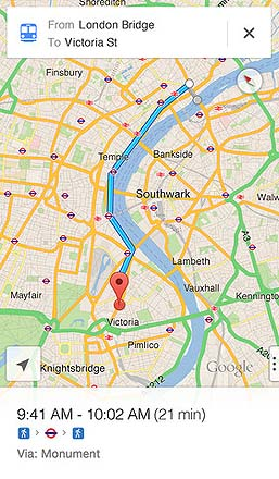 Google Maps on iOS showing London
