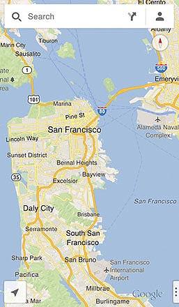 Google Maps on iOS showing San Francisco